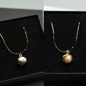 925 chain gold necklace Natural pearl shells sea